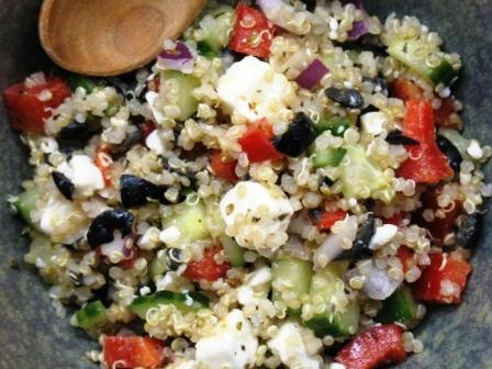 Greek God Salad. I hate cucumber, so avocado is a great substitute. Easy, filling, and very healthy.