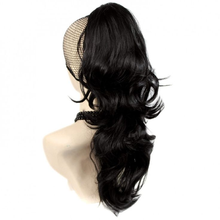 Wiwigs - Long Wavy Black brown Ponytail Jaw Claw Clip in Hair Piece Extension UK