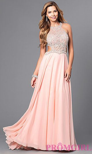 Mock Two-Piece Prom Dress with Beaded Bodice at PromGirl.com