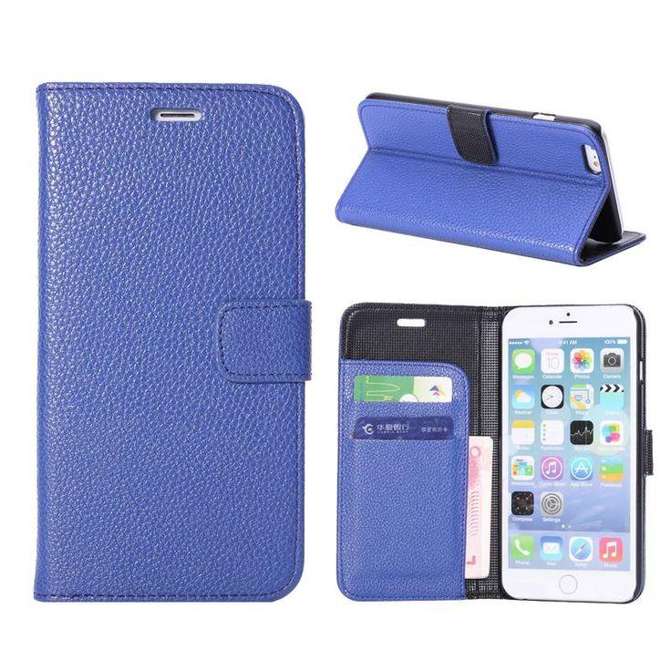 Blauw lychee bookcase hoesje voor iPhone 6 Plus