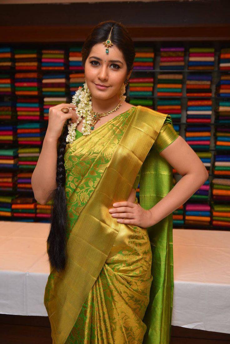 Rashi Khanna Stills In Green Kanchipuram Saree