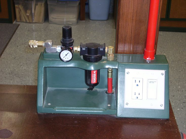Compressed air for air brush.  Provides air filter and gauge, electrical plug and compressor on/off switch