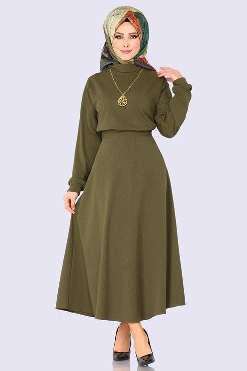 Modaselvim Kombin Bogazli 3 Lu Kombin 9056mb205 Haki Mutevazi Kiyafetler Elbise Modelleri Elbiseler