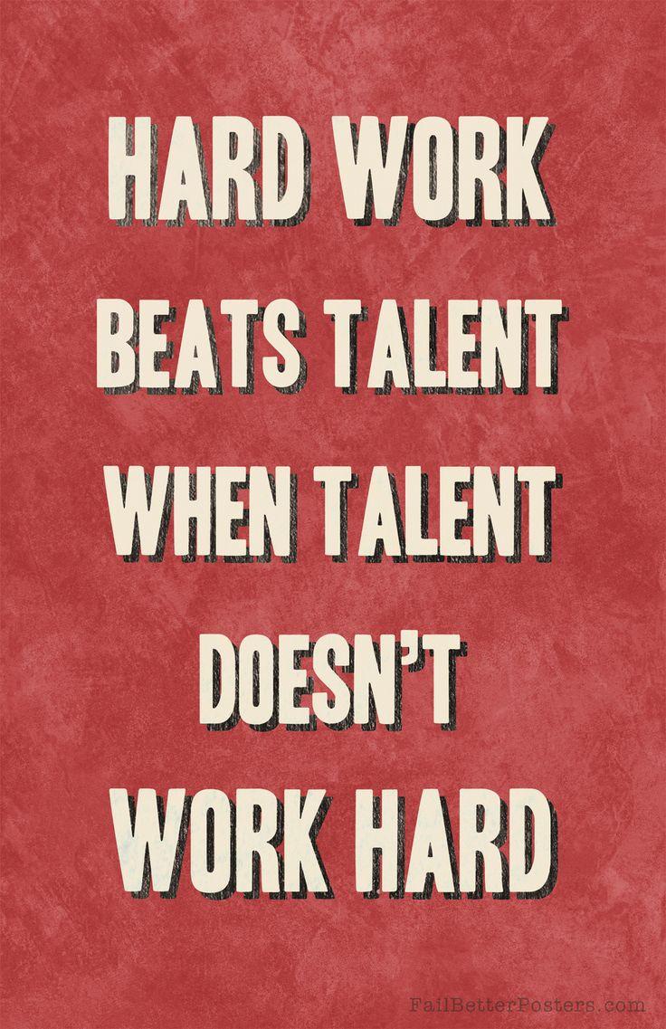 """Hard work beats talent when talent doesn't work hard ..."