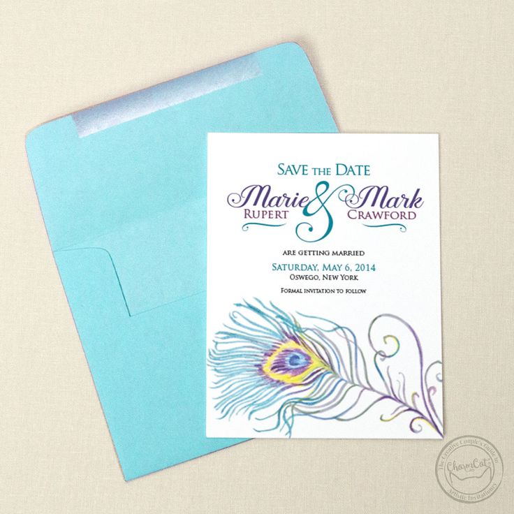 Painted Peacock Save the Date Wedding StationeryDestination