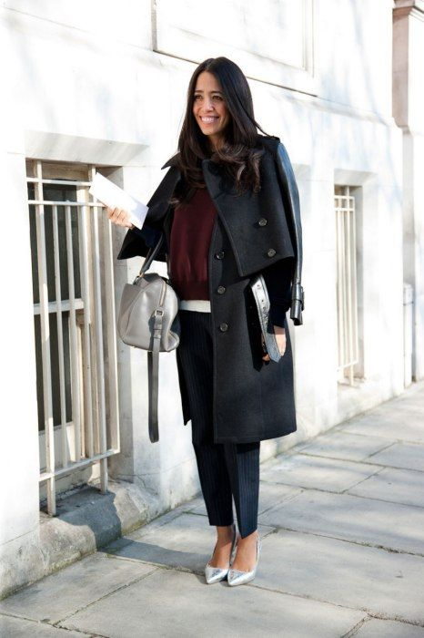 You can only match your bag to your shoes when they are silver metallic and grey. well almost match.  Photos: Best-Dressed Street Style at London Fashion Week Fall 2013 | Vanity Fair
