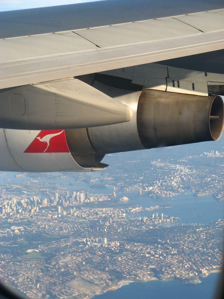 Qantas Over Sydney, Australia - Coming in to land.