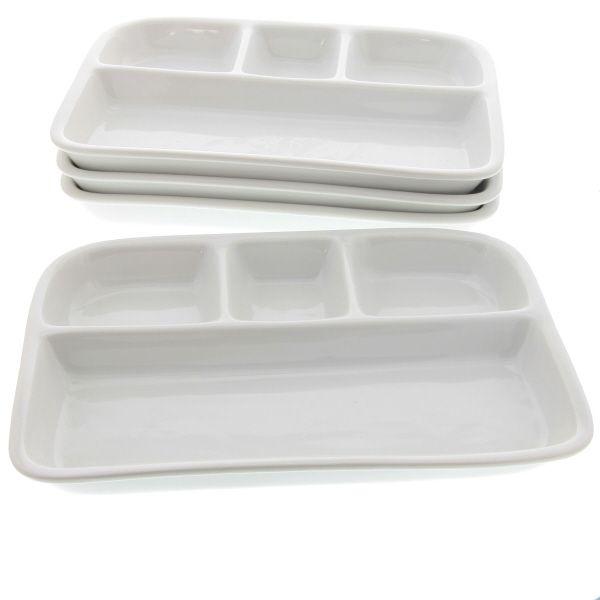 White Stoneware TV Dinner Dish Set of 4