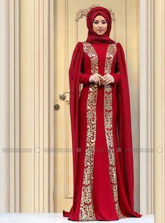 Rabia Evening Dress - Maroon - Zehrace
