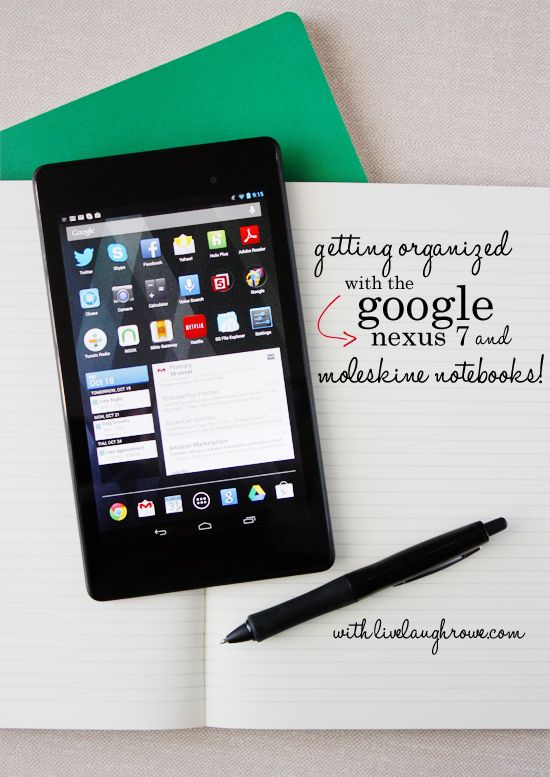 Getting Organized with the Google Nexus 7 and Moleskine Notebooks.  See how at livelaughrowe.comLivelaughrowecom
