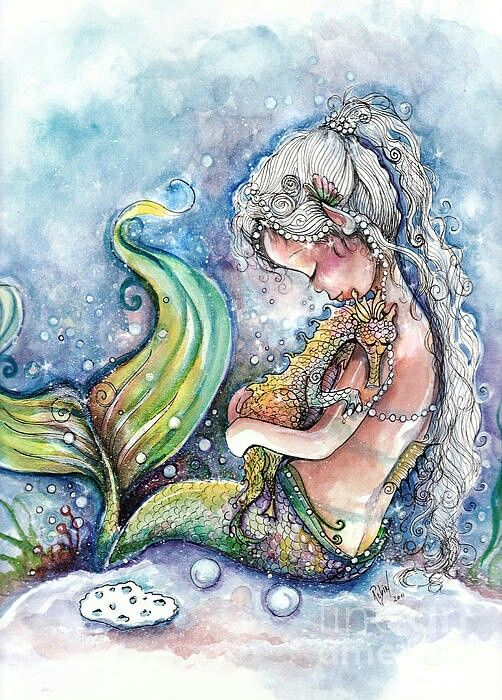 Mystical mermaid with her pet seahorse.
