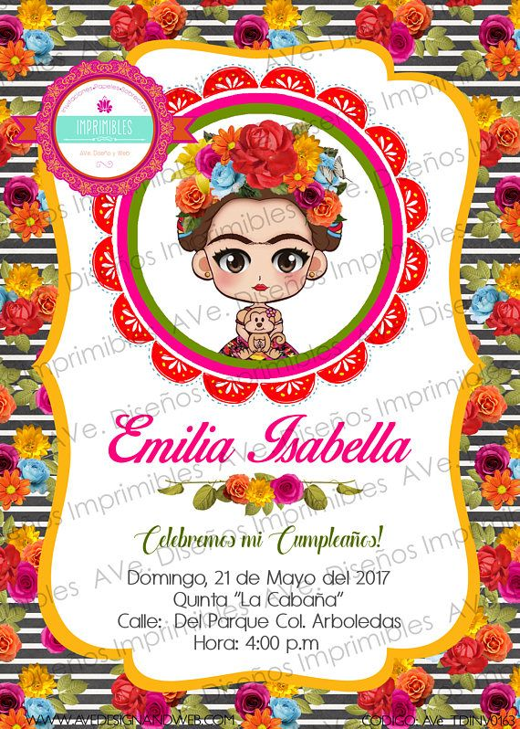 Frida Kahlo Invitaciones Frida Kahlo Fiesta Mexicana Frida