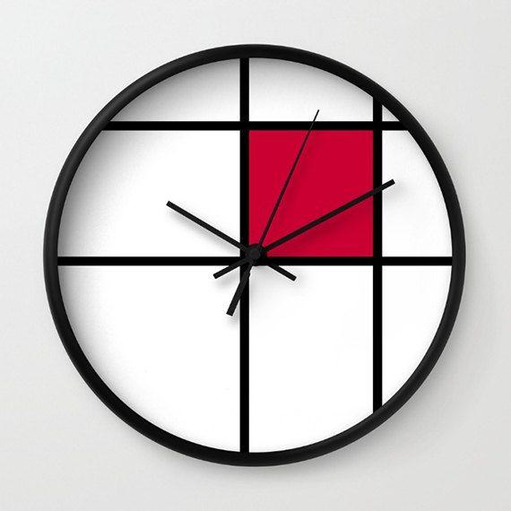 mondrian mondrian 2 red wall clock  mondrian red by GorgeousGD