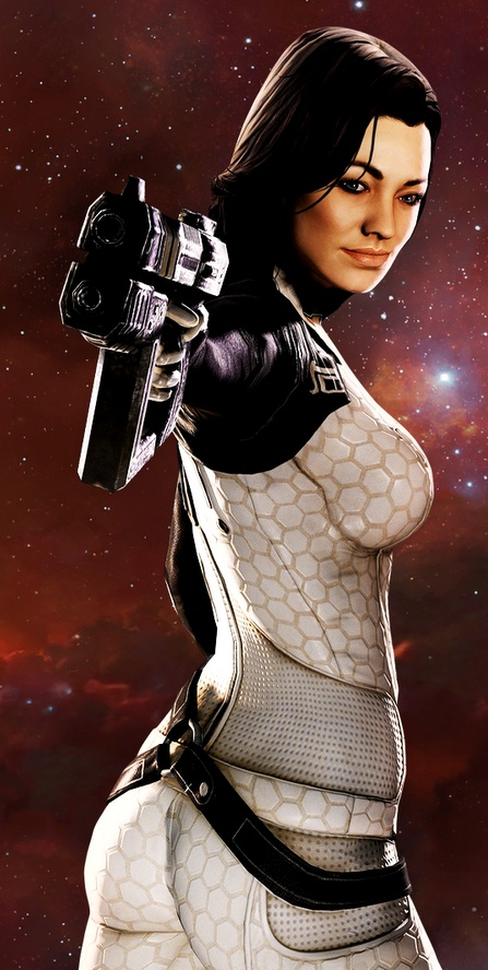 Miranda Lawson (that twist can't be helping her aim, but I like her anyway)