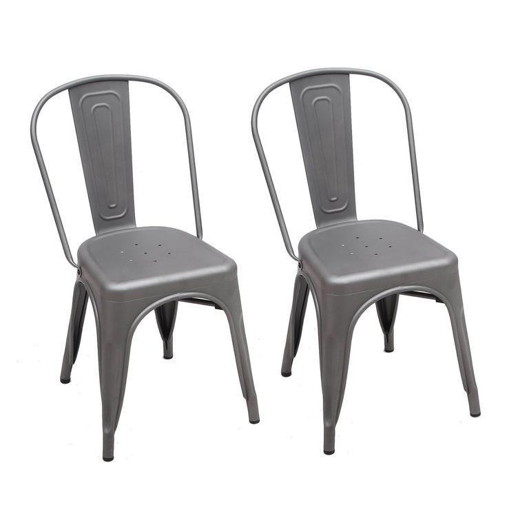 ELEGAN Metal Stackable Tolix Industrial Style Dining Chairs Grey Indoor Outdoor Kitchen, Set of 2