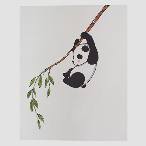 Decorazione su parete 🐼🌿#panda #cute #kawaii #doodle #sketching #sketch #paintwall #drawing #draw #cartoon #animal #babyroom #interiordesign