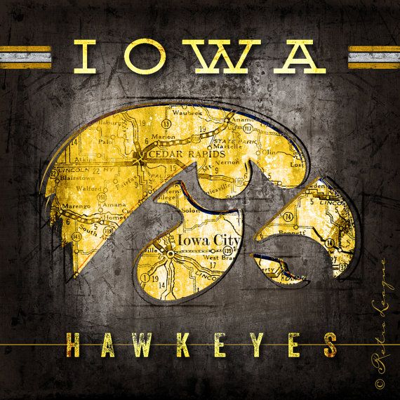 Iowa Hawkeyes Map - Featuring Iowa Fight Song - Christmas, Birthday…