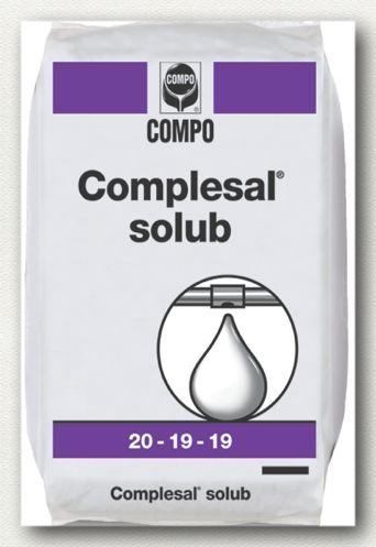 ΥΔΑΤΟΔΙΑΛΥΤΑ ΛΙΠΑΣΜΑΤΑ Complesal Solub 20-19-19  Σύνθεση: 20-19-19 +IXN  Σύνθετο πλήρες λίπασμα με ισόρροπη αναλογία θρεπτικών συστατικών και παρουσία μαγνησίου και ιχνοστοιχείων. Κατάλληλο για ενίσχυση των καλλιεργειών στις φάσεις υψηλής δραστηριότητας και για όλα τα στάδια ανάπτυξης.  Συσκευασίες: σάκοι των 25 κιλών, χαρτοκιβώτιο 12 Χ 2 κιλά.