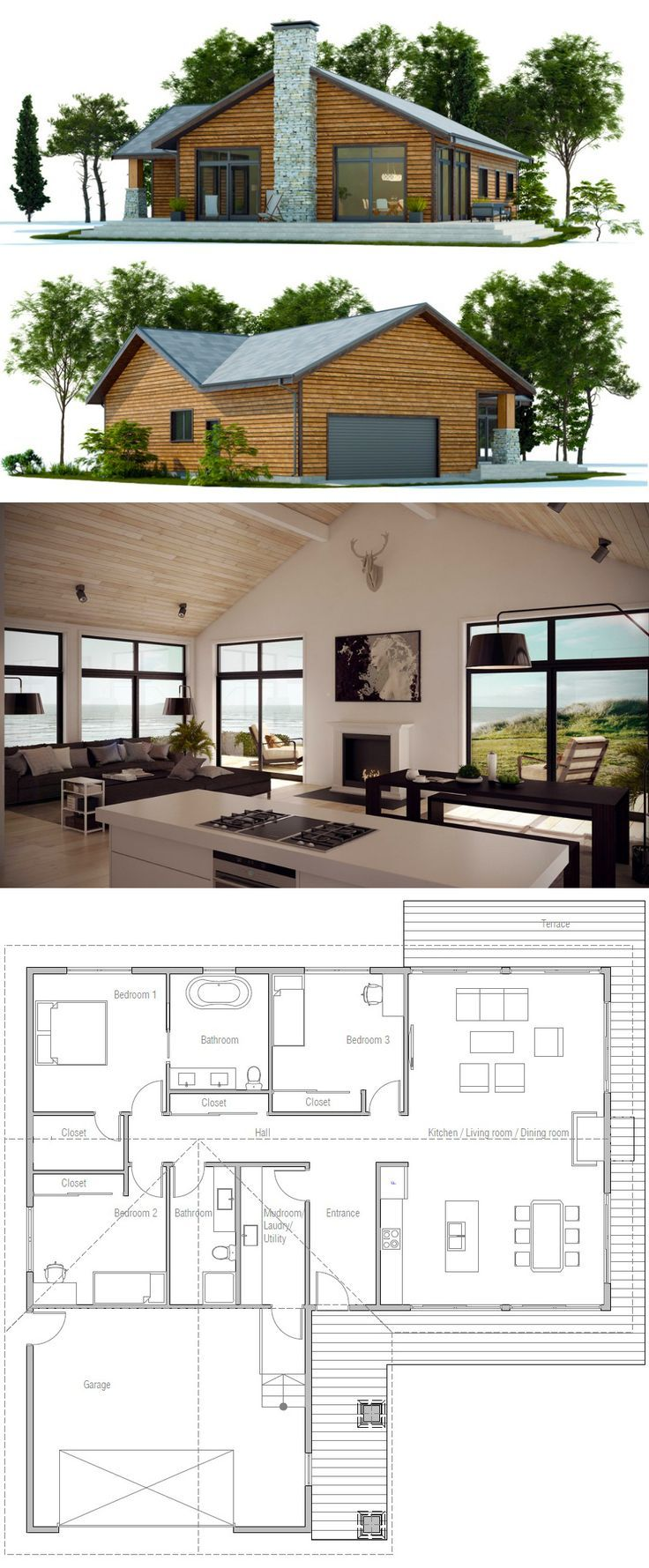 Home Plans Nice Interior And Exterior Home Design With: 33 Best Images About Two Bedroom House Plans On Pinterest