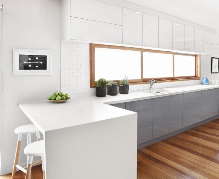 Masters Kitchens - The Beaumauris has illuminating glass-effect edging on the doors and drawers.