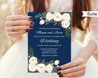 Navy Wedding Invitation Template, Wedding Invitation Suite, Floral Wedding Set, Navy and White Flowers, A051-C Instant Download Editable PDF