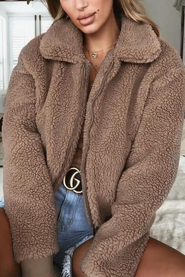 Casual Womens Coat Lapel Hooded Zipper Outwear Fall Winter Comfy Overwear Ladies Plus Size Slim Warm Coat