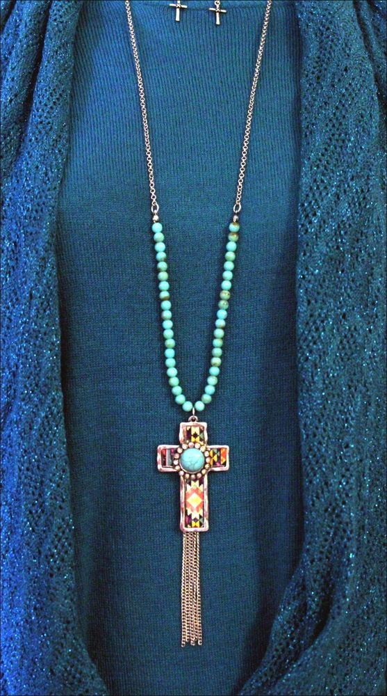 South West Tribal Aztec Cross Crystal Turquoise Cowgirl Bling Long Necklace Set #Unbranded
