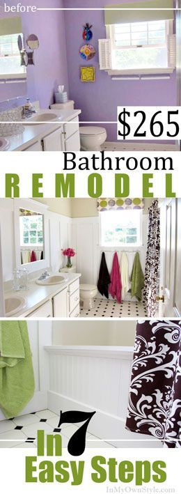 Budget Bathroom makeover. Look and see how the floor was transformed from green to black square tiles for only $10!