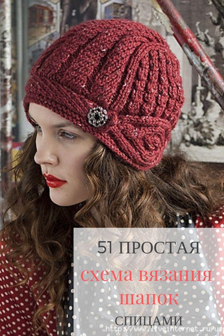 каталог из 51 модной шапки спицами со схемами и описанием для женщин
