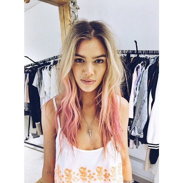 blonde to pink dip dye ombre dark eyebrows roots
