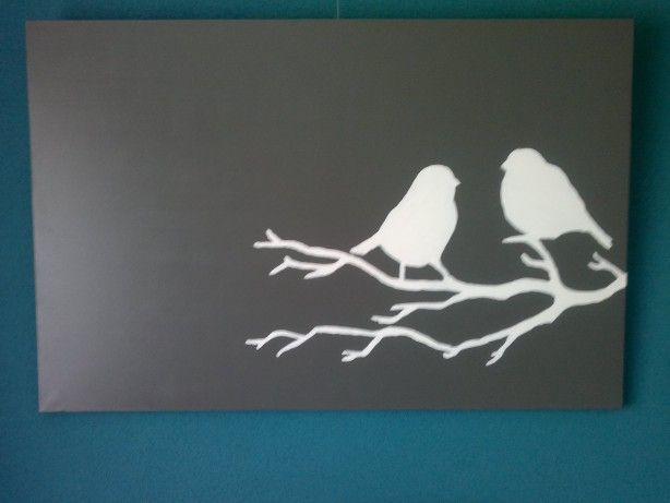 Vogels op een tak op een canvas doek