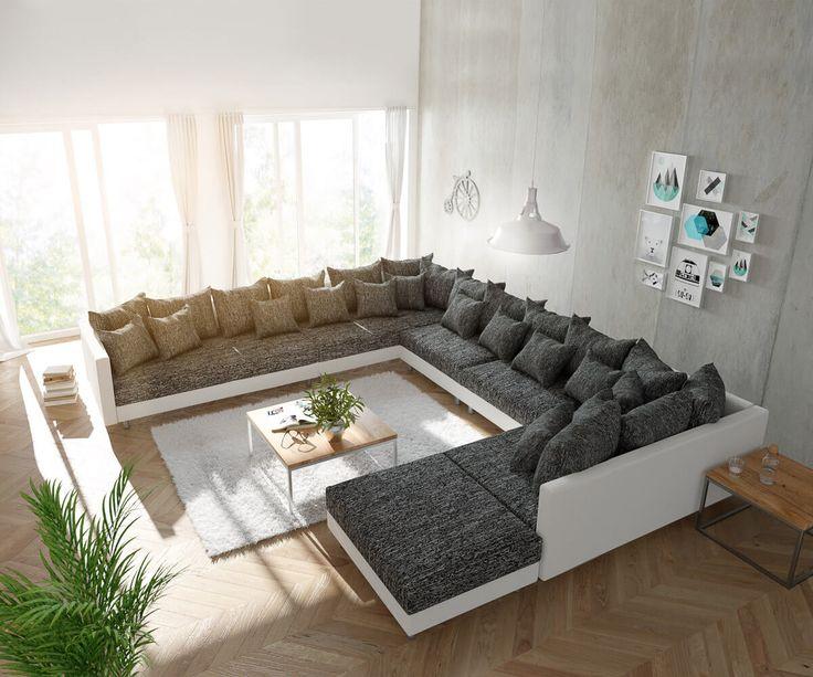 DELIFE Wohnlandschaft Clovis XXL Weiss Schwarz mit Hocker Ottomane Links, Design Wohnlandschaften, Couch Loft, Modulsofa, modular 10716