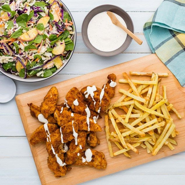Shake and Coat Chicken Tenders with Chips and Summer Slaw