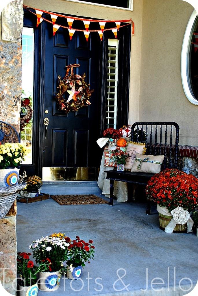 Halloween Front Porch: Halloween Front Porches, Halloween Porches, Front Doors, Fall Halloween, Fall Porches, Front Porches Decor, Autumn Front Porches, Felt Flowers, Cool Doors