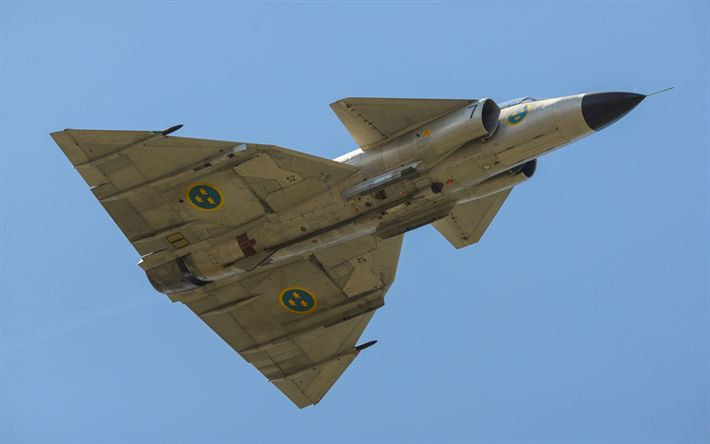 Download wallpapers Saab 37 Viggen, Thunderbolt, AJS-37 Viggen, Swedish fighter, Swedish Air Force, military aircraft