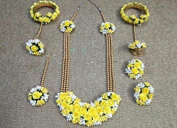 Handmade Yellow floral jewellery set