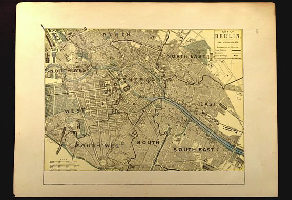 Berlin Map of Berlin Street Map Germany Antique Late 1800s | Map ...