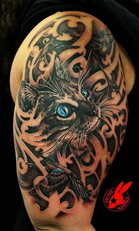 Awesome cat with 3D elements tattoo