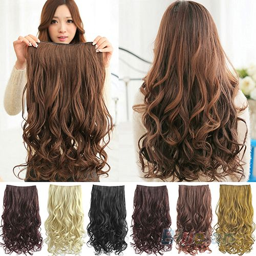Hot Fashion Full Head Clip Curly/ Wavy Women Synthetic Hair Extension Extensions