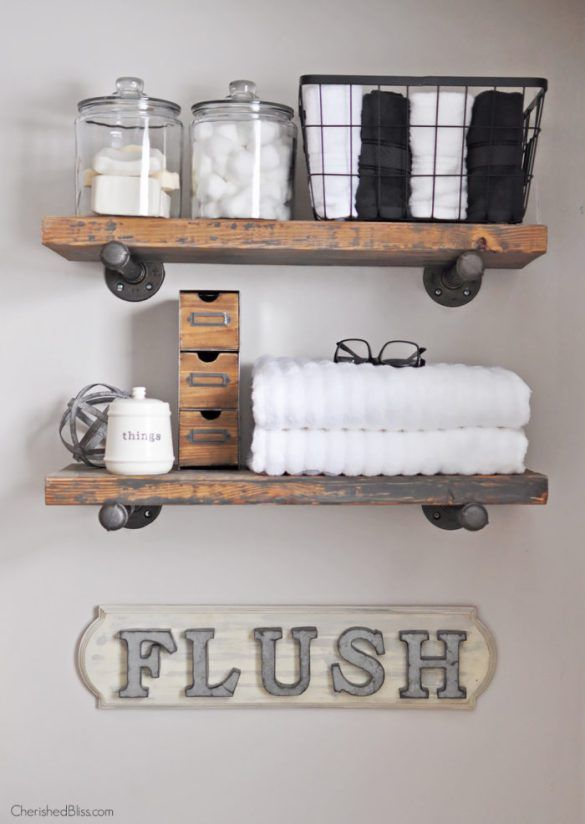 farmhouse meets rustic style flush it bathroom with floating shelves
