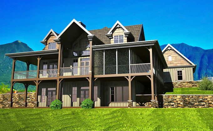 Open Floor Plan With Wrap Around Porch Rustic House