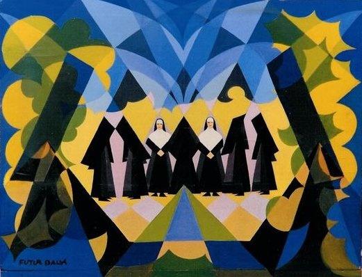 Balla, Giacomo (1871-1958) - 1925 Nuns and Landscape (Private Collection)
