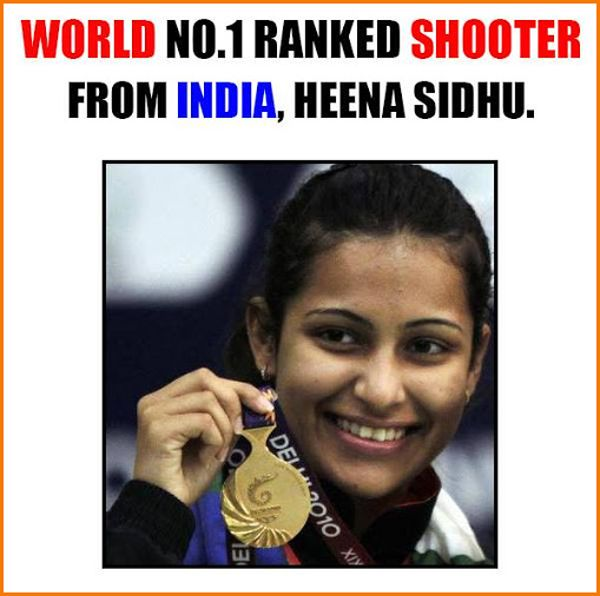 #HeenaSidhu is first Indian Pistol shooter ranked as World No.1 by International Shooting Sport Federation.