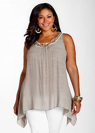 Apple Shape: tunic style tops can skim over tummy and show off slender legs.  Neckline detail draws attention up
