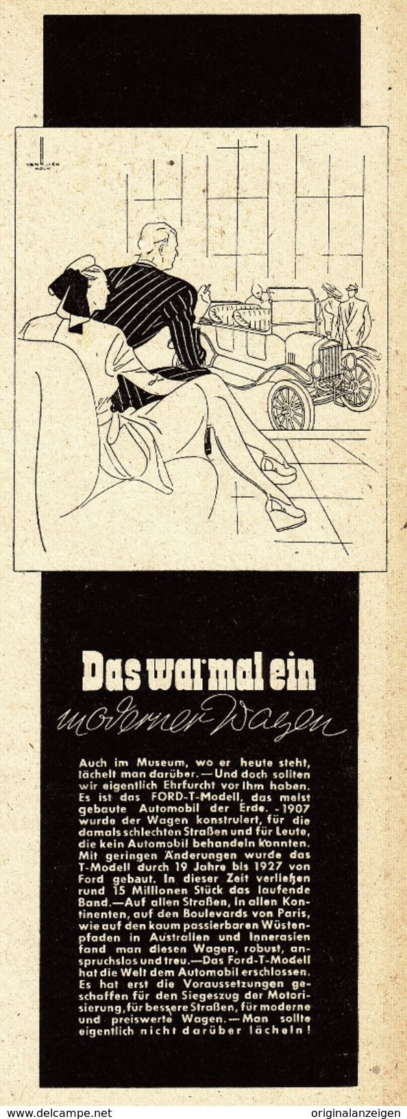 Original-Werbung/ Anzeige 1947 - FORD MODELL T - Ca. 75 X 200 Mm - Werbung