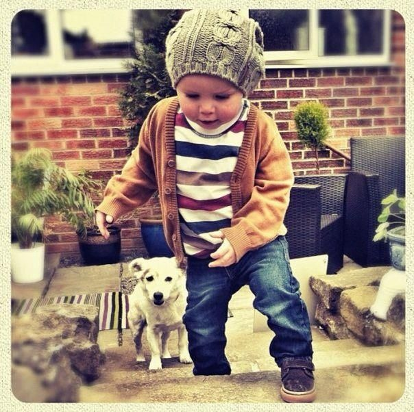 little boy style - cardigan, stripes, shoes, hat, love!