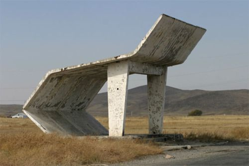 Russian bus stop. [No benches??]    NOTE TO SELF:  Cancel trip to Putin's paradise.