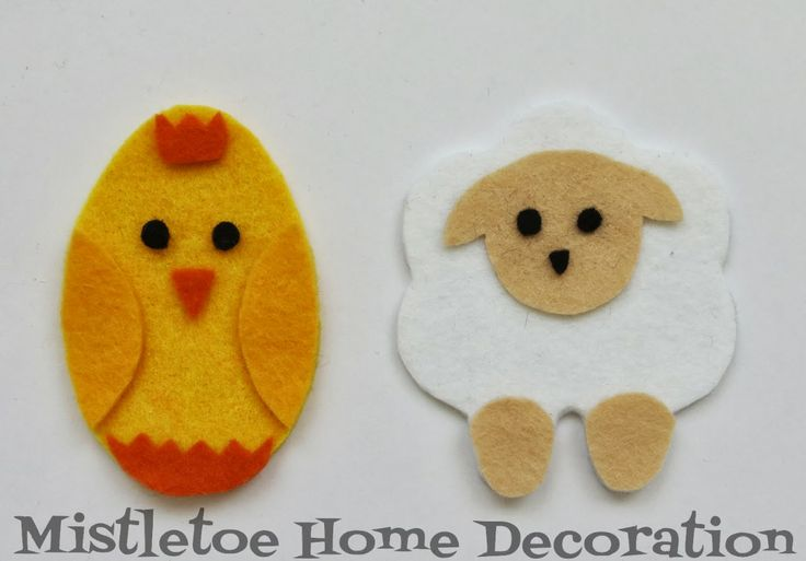 Easy craft for kids - Easter felt ornaments - chick and lamb