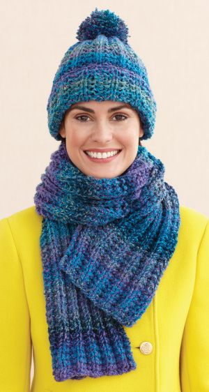 Knit Rustic Ribbed Hat and Scarf