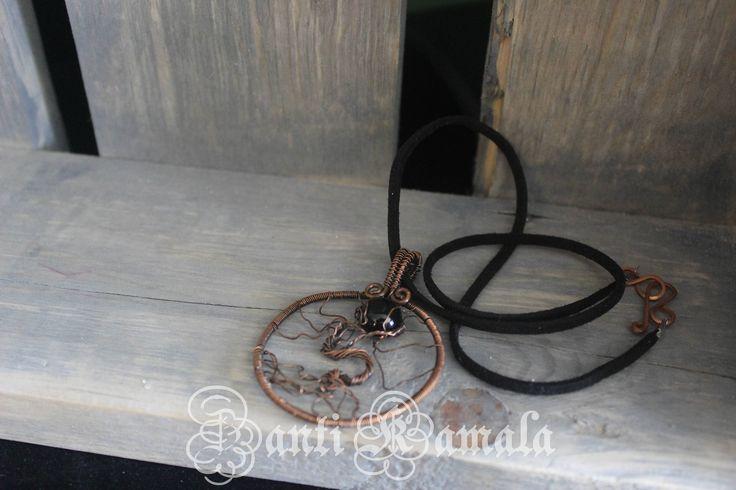Black moon rising tree of life necklace/tree of life/star necklace/sapphire necklace/copper necklace/statement necklace/moon necklace by ZantiKamala on Etsy